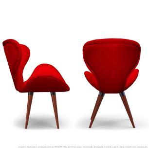 Kit 2 Poltronas Decorativas Cadeiras Egg Vermelha com Base Fixa de Madeira