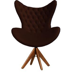 Cadeira Decorativa Com Capitonê Big Egg Marrom Giratória Madeira
