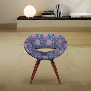 Poltrona Beijo Floral Rosa e Lilás Cadeira Decorativa com Base Fixa