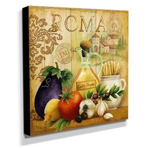 Quadro Cozinha Vintage Azeite Roma Canvas 30x30cm-COZ67