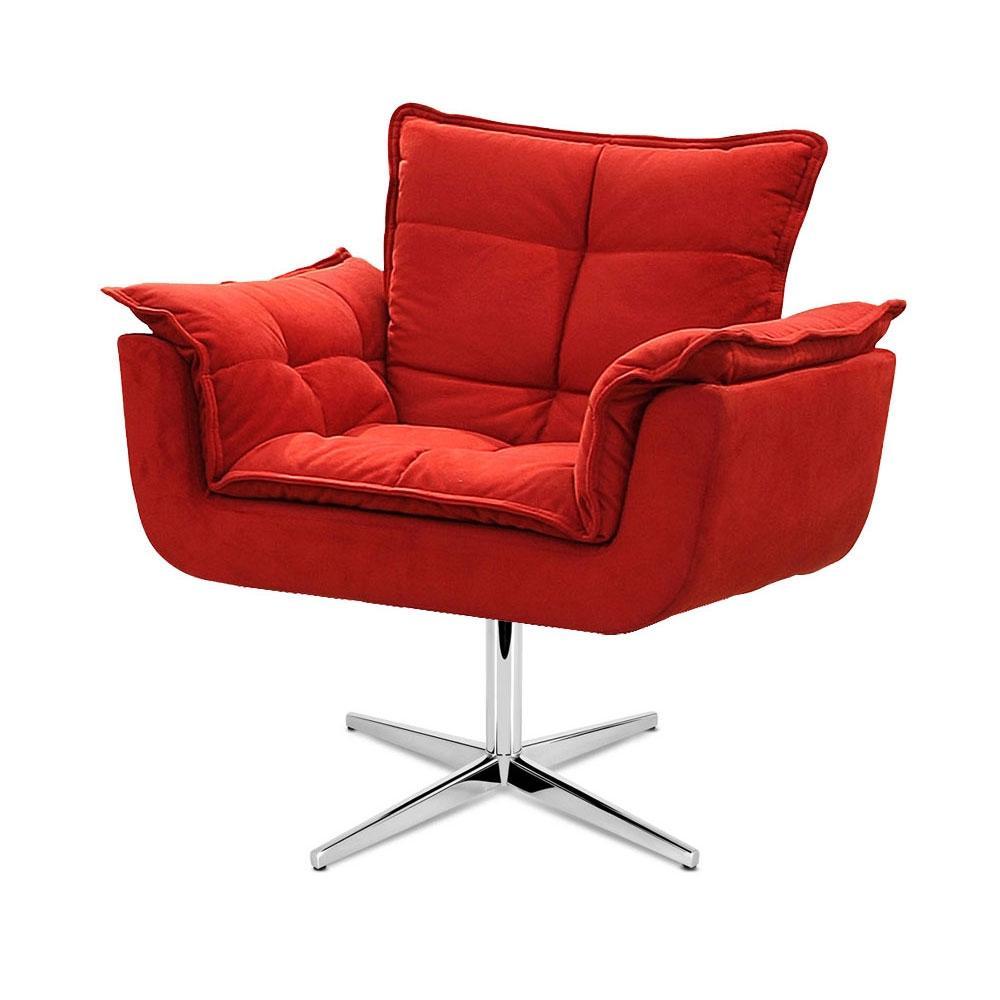 Cadeira Decorativa Opala Vermelha Base Giratória