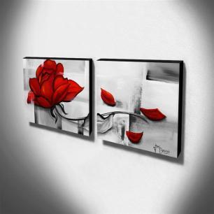 Dupla de Quadros Decorativos Canvas Rosa Vermelha 60x60cm Cada-QF1D-60