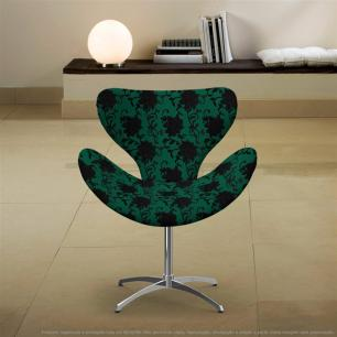 Cadeira Egg Floral Preto e Verde Poltrona Decorativa com Base Giratória