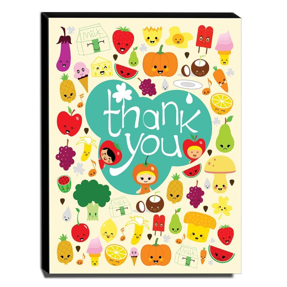 Quadro Infantil Thank You Legumes e Frutas Canvas 40x30cm-INF91