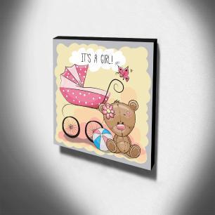 Quadro Infantil Ursinho It's a Girl! Canvas 30x30cm-INF42