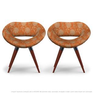 Kit 2 Cadeiras Beijo Floral Marrom e Laranja Poltrona Decorativa com Base Fixa