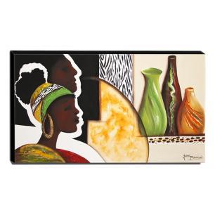 Quadro de Pintura Africano 60x105cm-1306