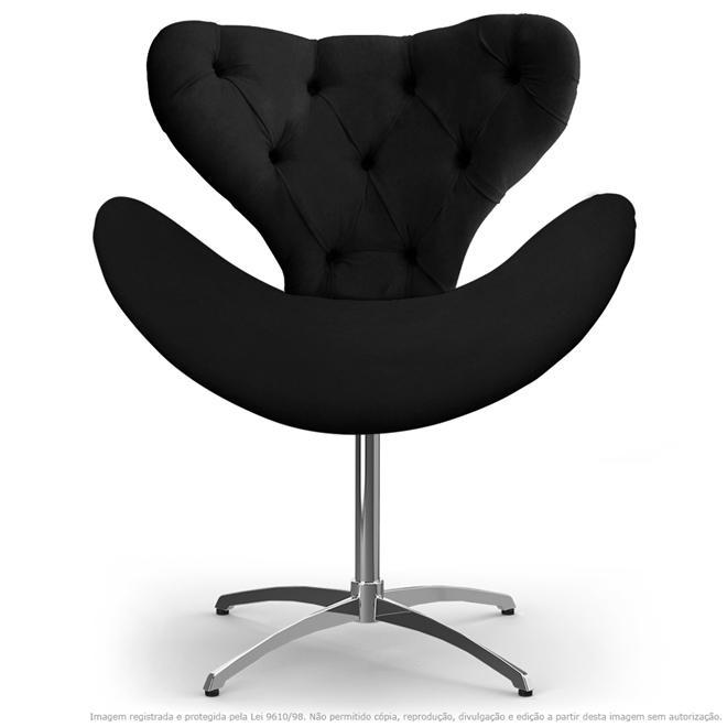 Cadeira com Capitonê Decorativa Poltrona Egg Preta com Base Giratória