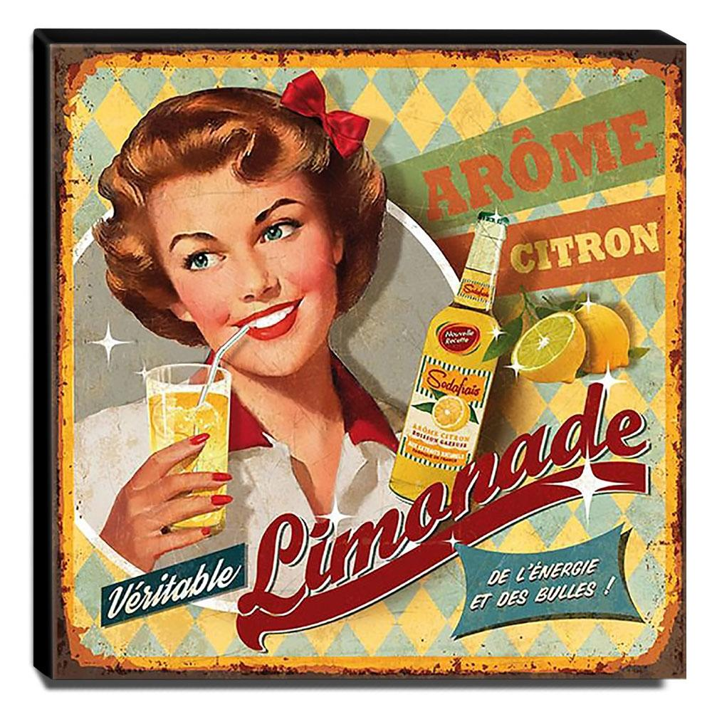Quadro Cozinha Vintage Limonada Canvas 30x30cm-COZ96