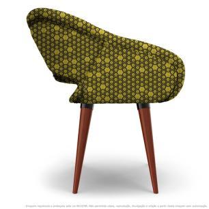 Cadeira Beijo Colmeia Amarelo e Preto Poltrona Decorativa com Base Fixa