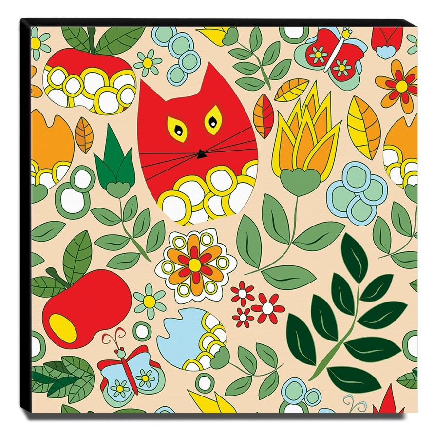 Quadro Infantil Gato Floral Canvas 30x30cm-INF405