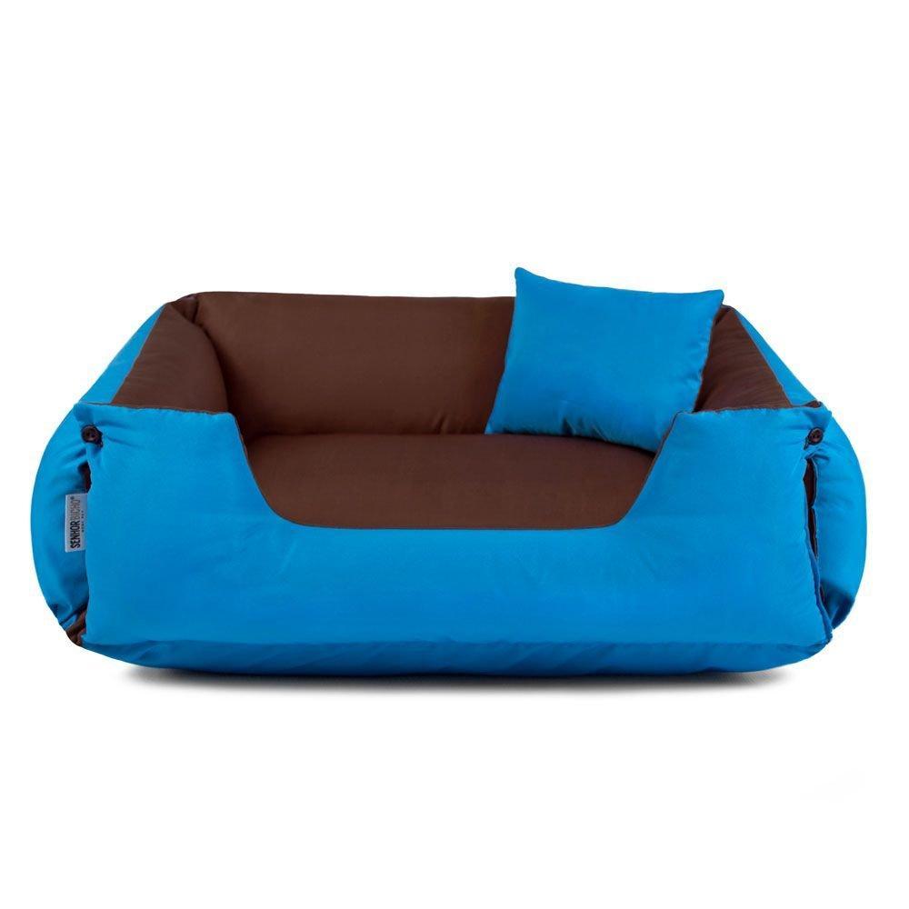 Cama de Cachorro Dupla Face Lola Senhor Bicho - G - Marrom Azul