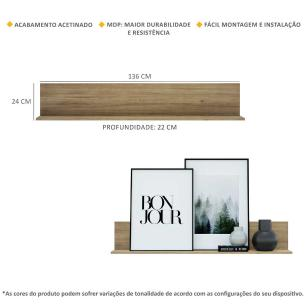 Kit 2 Prateleiras Nichos Decorativos 136 cm Multimóveis Rustic