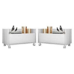 Kit com 2 Mesas de Cabeceira 60 cm com Rodízios Multimóveis Branca