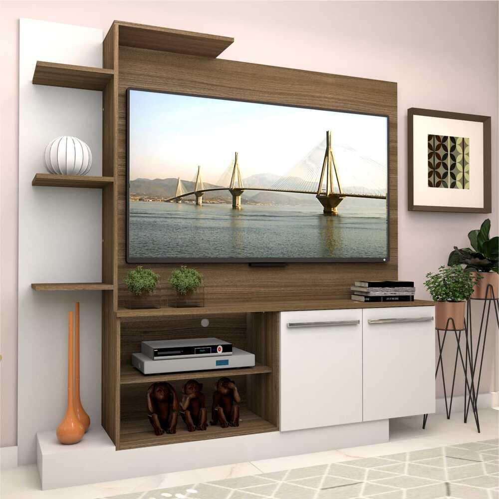 Estante com painel para TV até 55 polegadas e 2 portas Porto Multimóveis Madeirado/Branco
