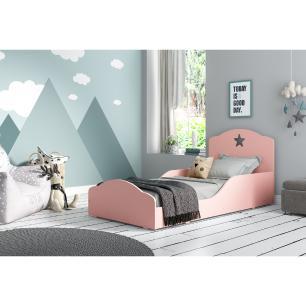 Cama Infantil Montessoriana c/ Barras de Proteção p/ colchão 150 x 70 cm Star Multimóveis Rosa