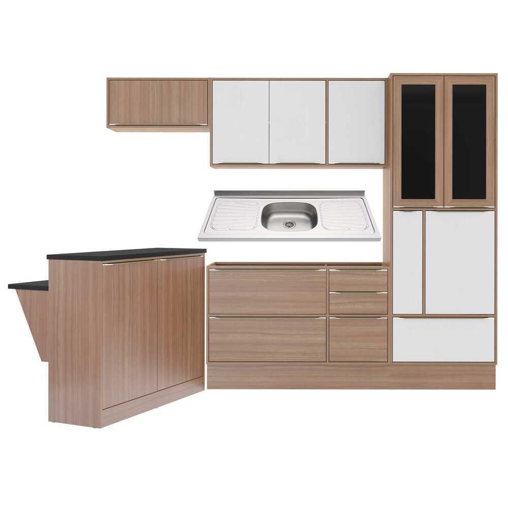 Cozinha Compacta com Pia Inox, Bancada e Rodapé 8 peças Calábria Multimóveis MP3225 Madeirado/Branco