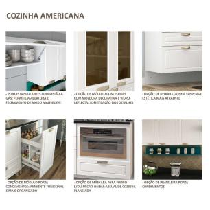 Cozinha Completa 6 peças Americana Multimóveis 5667MF Branco/Grafite
