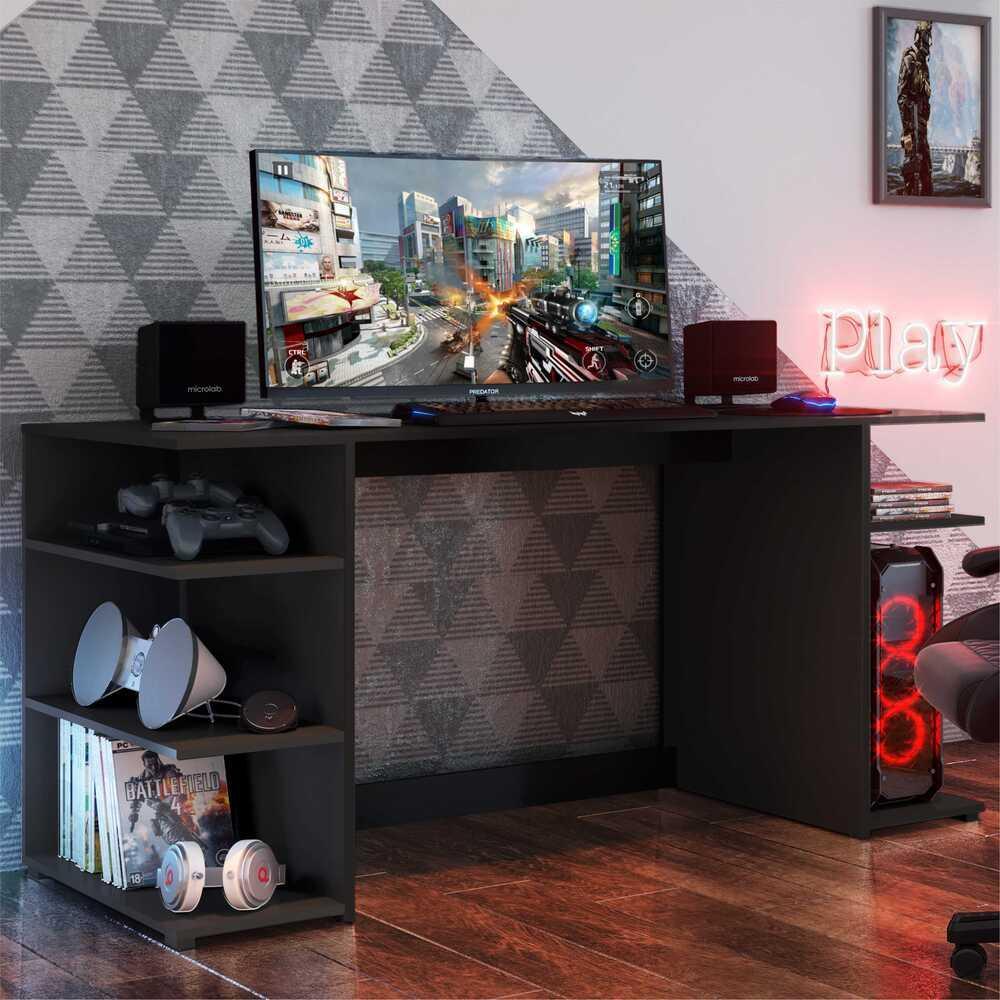 Mesa Gamer Escrivaninha Guilda Multimóveis Preta