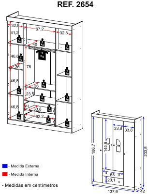 Guarda-Roupa / Roupeiro Multimóveis New Cristal 4 Portas e 2 Gavetas Branco
