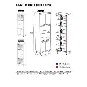 Paneleiro Multimóveis Sicília para forno e micro com vidro 5120 Argila/Branco
