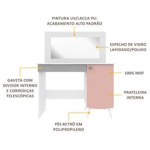 Penteadeira Escrivaninha 100% MDF c/ espelho, 1 pta, 1 gav c/ organiz Doçura Multimóveis Bco/Cza/Ros