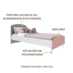 Cama Solteiro com Colchão Incluso 78 x 188 cm 100% MDF Doçura Multimóveis Branca/Cinza/Rosa