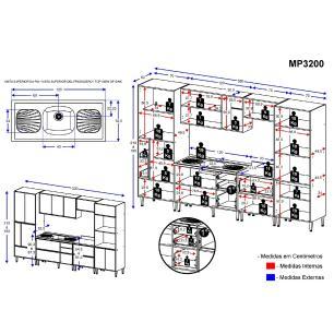 Cozinha Compacta com Pia Inox 7 peças Calábria Multimóveis MP3200 Madeirado