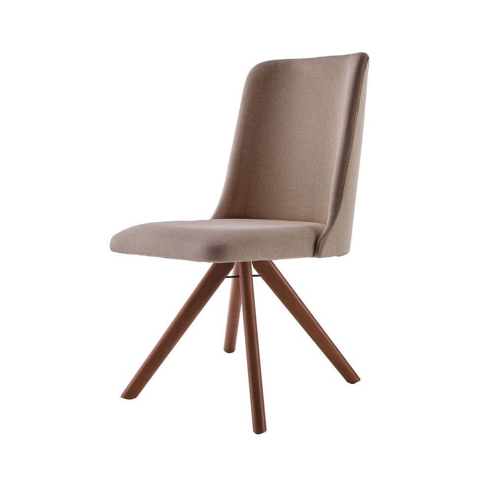 Cadeira de Jantar Giratória Arrezo Café com Leite 1777 Base Madeira cor Imbuia
