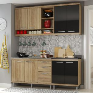 Cozinha Compacta Completa Multimóveis com 4 peças Sicília 5818 Argila/Preto