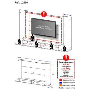 Painel para TV até 60 polegadas com nichos Quebec Multimóveis Louro Freijó