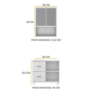 Armário de Banheiro com espelho e 2 portas e Balcão de Pia Multimóveis Branco