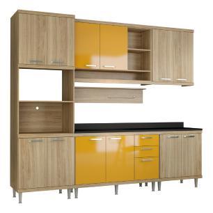 Cozinha Completa Multimóveis com 7 peças Sicília 5815 Argila/Amarelo