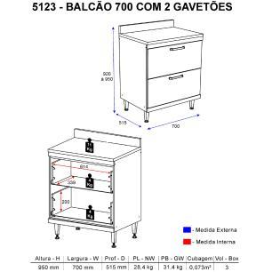 Balcão Multimóveis Sicília Duplo 70cm com Gavetão 5123 Argila/Preto