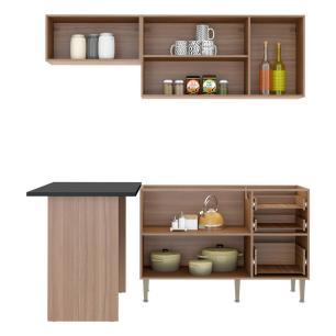 Cozinha Compacta Multimóveis com 4 peças Calábria 5460 Nogueira