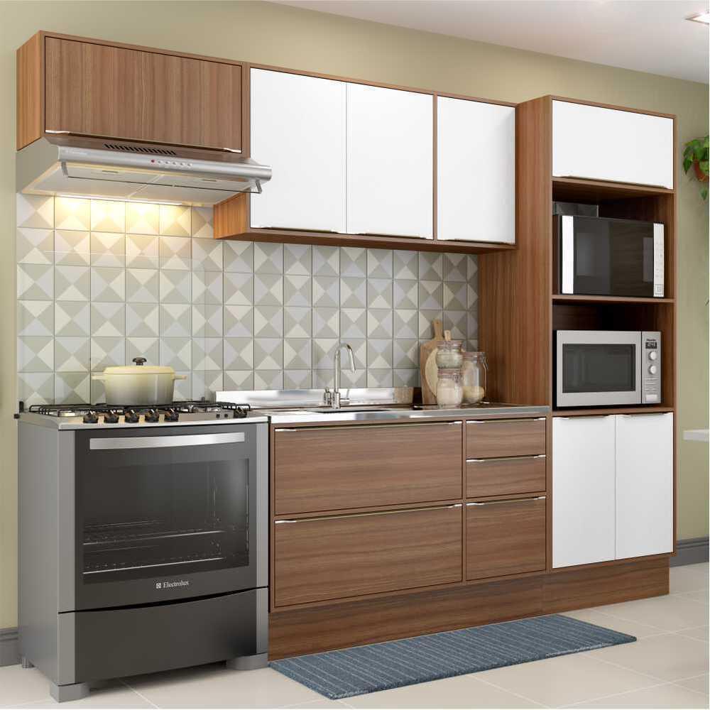 Cozinha Completa Multimóveis com 6 peças Calábria 5457R Nogueira/Branco