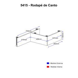 Rodapé Multimóveis Calábria para balcão de canto 5415 Nogueira