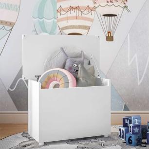 Baú Organizador Caixa de Brinquedos Multimóveis Branco