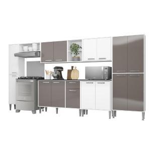 Cozinha Completa Compacta c/ Armário e Balcão c/ Tampo 7 pçs Xangai Blues Multimóveis Bca/Lacca Fumê