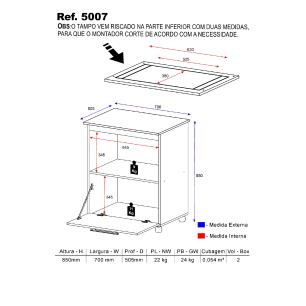 Balcão Multimóveis Multiuso para Cooktop Branco REF.5007 com 01 gaveta