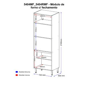 Paneleiro Multimóveis Calábria para Forno e Microondas 5404MF Nogueira/Branco