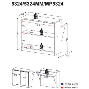 Bancada Balcão / Divisor de ambientes Multifuncional Multimóveis Mariah Argila