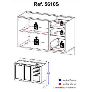 Balcão Multimóveis Nevada 120cm para pia Suspenso Grafite REF.5610S.971