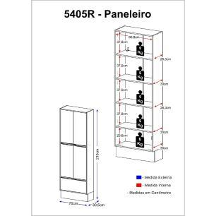 Paneleiro Multimóveis Calábria Duplo 5405R Nogueira/Branco com Rodapé