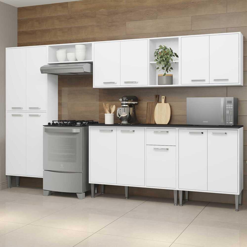 Cozinha Completa Compacta c/ Armário e Balcão c/ Tampo 6 pçs Xangai Jazz Multimóveis Branca