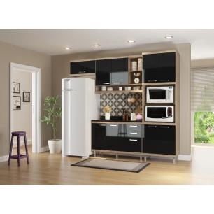 Cozinha Completa Multimóveis com 5 peças Sicília 5829 Argila/Preto