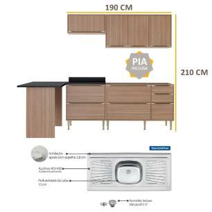 Cozinha Compacta com Pia Inox e Mesa 6 peças Calábria Multimóveis MP3191 Madeirado