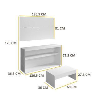 Rack c/Painel TV até 50 Pol.Mesa de apoio Atualle Multimóveis Branco Acetinado Texturizado REF. 2839.131