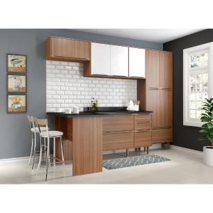 Cozinha Completa Multimóveis com 6 peças Calábria 5454 Nogueira/Branco