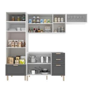 Cozinha Completa 4 peças Americana Multimóveis 5691 Branco/Grafite